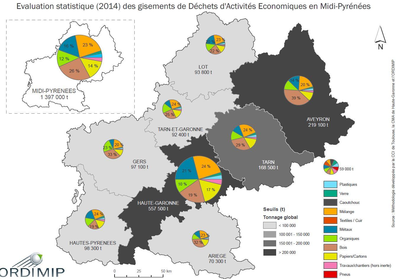 Evaluation statistique des déchets des activités économiques en Midi-Pyrénées en 2014
